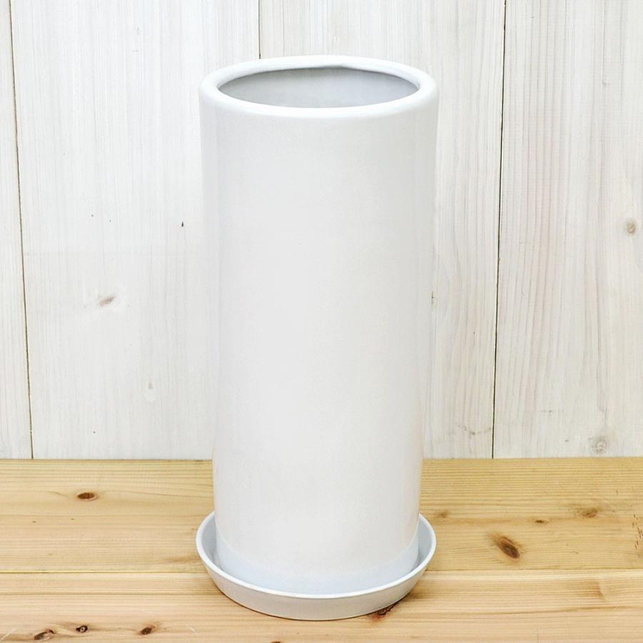円柱形陶器鉢M ホワイト 7号サイズ flower-c