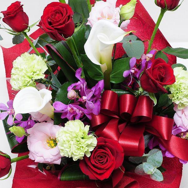 花 プレゼント ギフト 誕生日ギフト 赤いバラ 生花 アレンジメント レッドダイヤモンド Mサイズ バラプレゼント 彼女友達の誕生日|flower|02