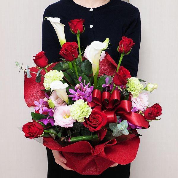 花 プレゼント ギフト 誕生日ギフト 赤いバラ 生花 アレンジメント レッドダイヤモンド Mサイズ バラプレゼント 彼女友達の誕生日|flower|04