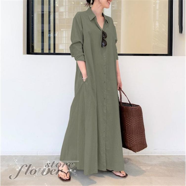 ワンピース レディース シャツワンピース キーネック 長袖 ゆったり 羽織り ライトアウター|flowerstore