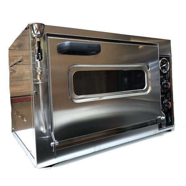 卓上型 オーブン 小型 業務用/家庭用1枚差し  ベーカリーミニデッキオーブン 炉床煉瓦石平板 スチーム機能付き MD-22
