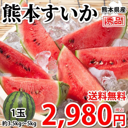スイカ すいか 送料無料 熊本すいか 秀品 1玉 約3.5kg〜5kg お取り寄せ 熊本県産 西瓜 お取り寄せ フルーツ|foodys