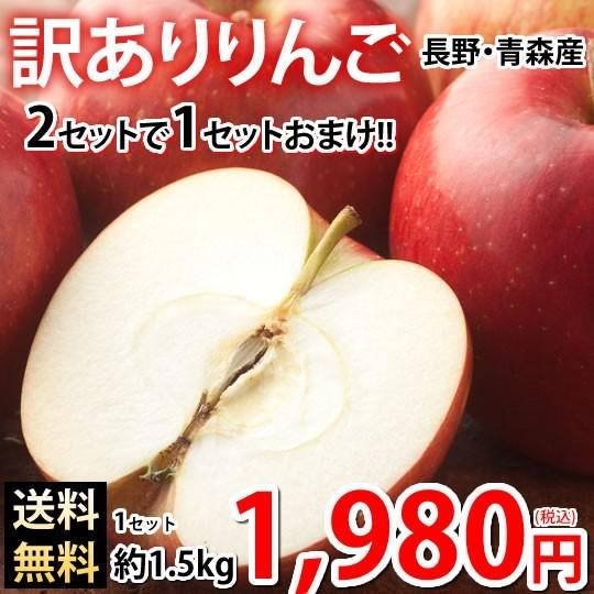 りんご 訳あり リンゴ 送料無料 約1.5kg 長野・青森県産 2セットで1セットおまけ お取り寄せ サンふじ つがる ジョナゴールド ふじ 林檎|foodys