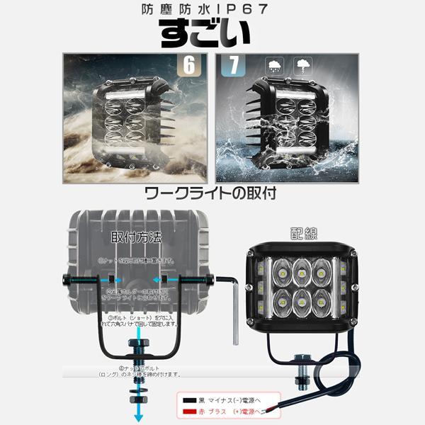 大セール! 4個 LED作業灯 ワークライト 45W OSRAM製チップを凌ぐ 3面発光 led投光器 IP67防水 補助灯 トラック 集魚灯 12V 24V ledライト 1年保証 TD03|force4future|06