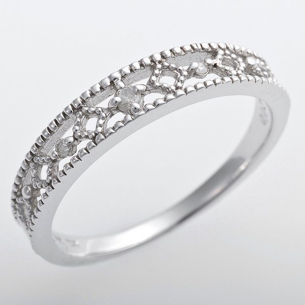 新発売 K10ホワイトゴールド 天然ダイヤリング 指輪 ピンキーリング ダイヤモンドリング 0.02ct 1.5号 アンティーク調 プリンセス, 【築地通販】おいしいなショップ 2d198f5c