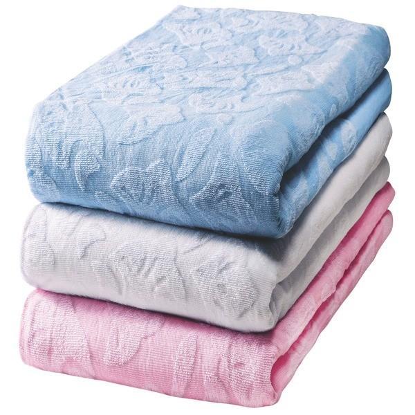 ワイド&ロング タオルシーツ 〔ブルー ピンク ホワイト 3色組 シングル〕 綿100% 洗える 〔ベッドルーム 寝室〕〔代引不可〕