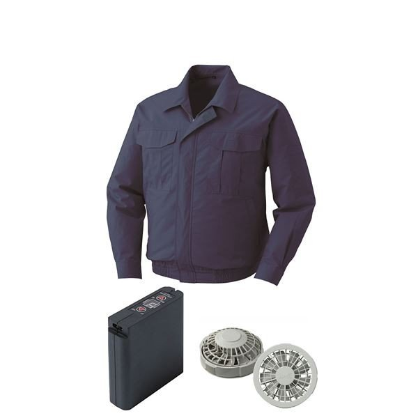 空調服 綿薄手ワーク空調服 大容量バッテリーセット ファンカラー:グレー 0550G22C14S5 〔カラー:ダークブルー サイズ:XL〕