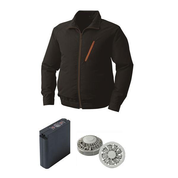 空調服 ポリエステル製空調服 大容量バッテリーセット ファンカラー:グレー 0510G22C09S3 〔カラー:ブラック サイズ:L〕