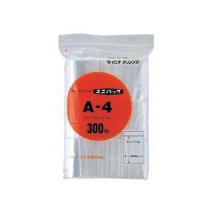 (まとめ) セイニチ ユニパック チャック付ポリエチレン ヨコ50×タテ70×厚み0.04mm A-4 1パック(300枚) 〔×10セット〕