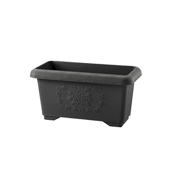 (まとめ) 深型 プランター/植木鉢 〔ダークグレー 45型〕 止水栓付き ガーデニング用品 園芸 〔×20個セット〕