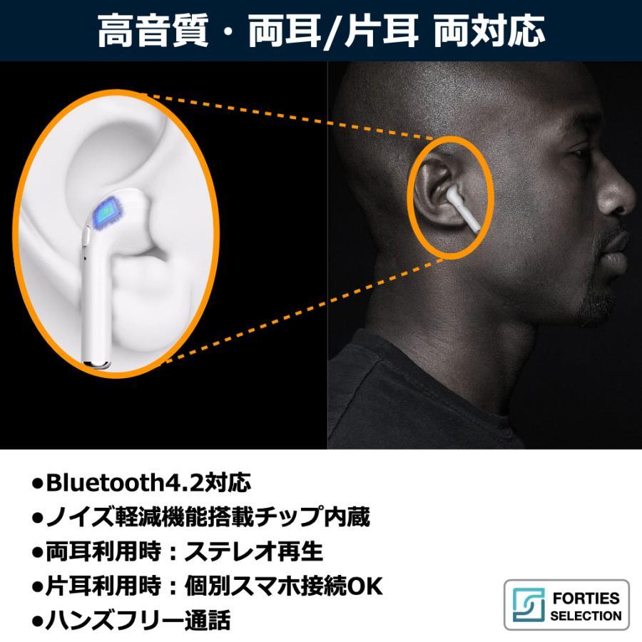 ワイヤレスイヤホン Bluetooth iPhone 高音質 改善版 両耳 片耳 ハンズフリー 通話 マイク ブルートゥース イヤフォン 充電ケース Android forties 05