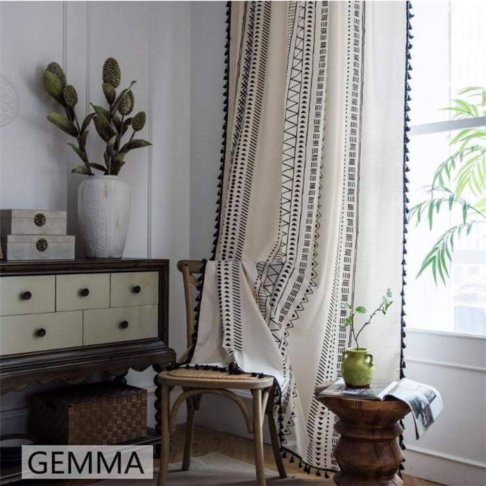 カーテン 綿麻 穴タイプ フック ボヘミア風 幾何 一体型カーテン リネン 和風 日系 新生活 部屋 洗える 完成品 カーテン|fortuna-gemma