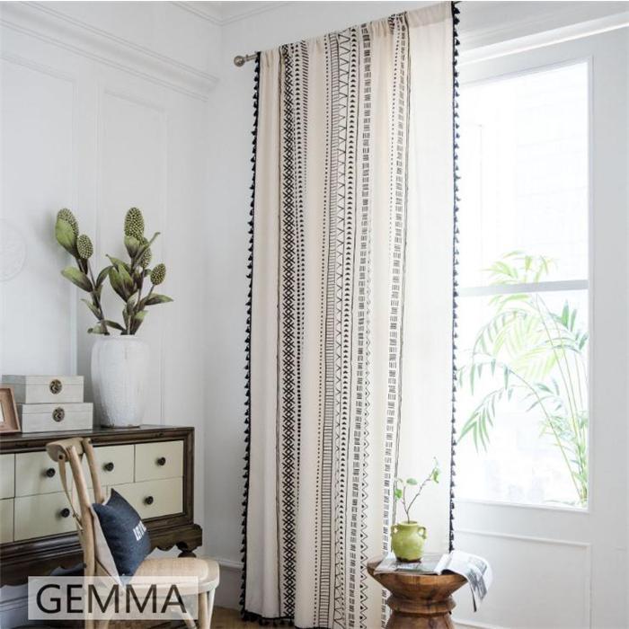 カーテン 綿麻 穴タイプ フック ボヘミア風 幾何 一体型カーテン リネン 和風 日系 新生活 部屋 洗える 完成品 カーテン|fortuna-gemma|02