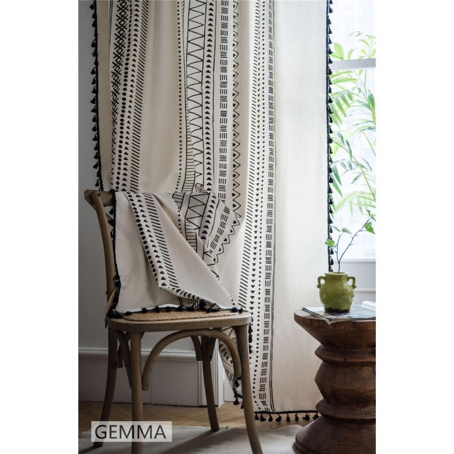 カーテン 綿麻 穴タイプ フック ボヘミア風 幾何 一体型カーテン リネン 和風 日系 新生活 部屋 洗える 完成品 カーテン|fortuna-gemma|11