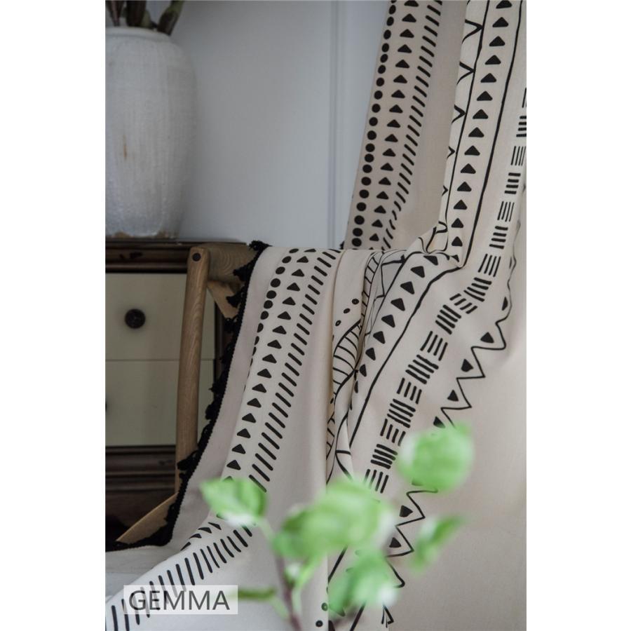 カーテン 綿麻 穴タイプ フック ボヘミア風 幾何 一体型カーテン リネン 和風 日系 新生活 部屋 洗える 完成品 カーテン|fortuna-gemma|12