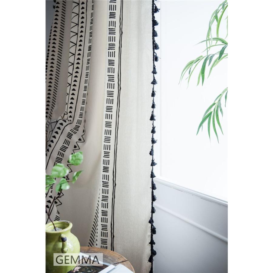 カーテン 綿麻 穴タイプ フック ボヘミア風 幾何 一体型カーテン リネン 和風 日系 新生活 部屋 洗える 完成品 カーテン|fortuna-gemma|13