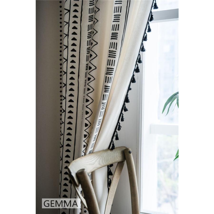 カーテン 綿麻 穴タイプ フック ボヘミア風 幾何 一体型カーテン リネン 和風 日系 新生活 部屋 洗える 完成品 カーテン|fortuna-gemma|14