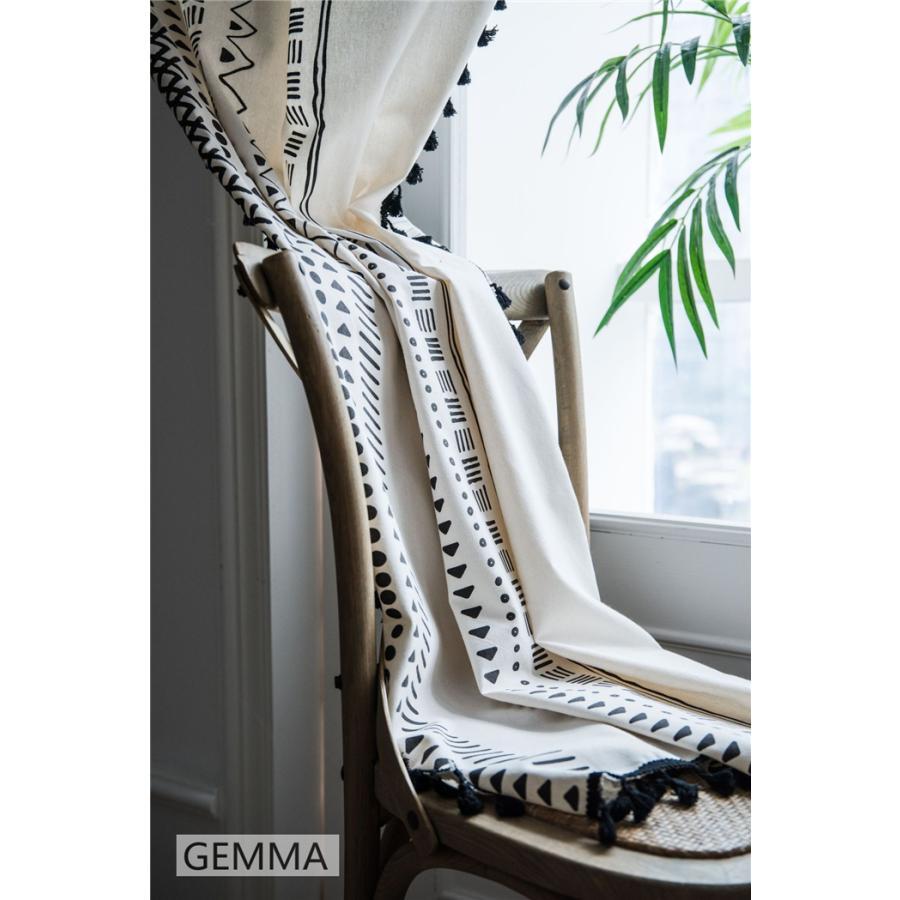 カーテン 綿麻 穴タイプ フック ボヘミア風 幾何 一体型カーテン リネン 和風 日系 新生活 部屋 洗える 完成品 カーテン|fortuna-gemma|15