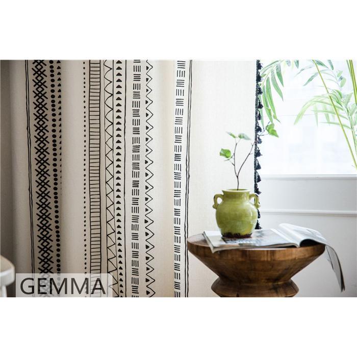 カーテン 綿麻 穴タイプ フック ボヘミア風 幾何 一体型カーテン リネン 和風 日系 新生活 部屋 洗える 完成品 カーテン|fortuna-gemma|16