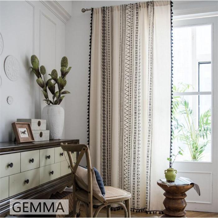 カーテン 綿麻 穴タイプ フック ボヘミア風 幾何 一体型カーテン リネン 和風 日系 新生活 部屋 洗える 完成品 カーテン|fortuna-gemma|04