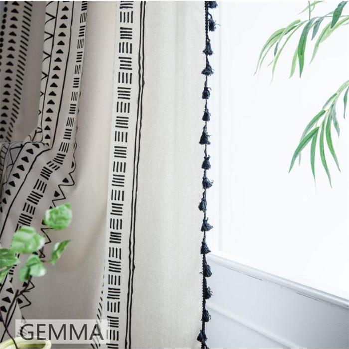 カーテン 綿麻 穴タイプ フック ボヘミア風 幾何 一体型カーテン リネン 和風 日系 新生活 部屋 洗える 完成品 カーテン|fortuna-gemma|05