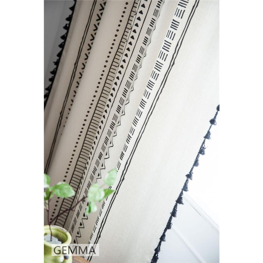 カーテン 綿麻 穴タイプ フック ボヘミア風 幾何 一体型カーテン リネン 和風 日系 新生活 部屋 洗える 完成品 カーテン|fortuna-gemma|08