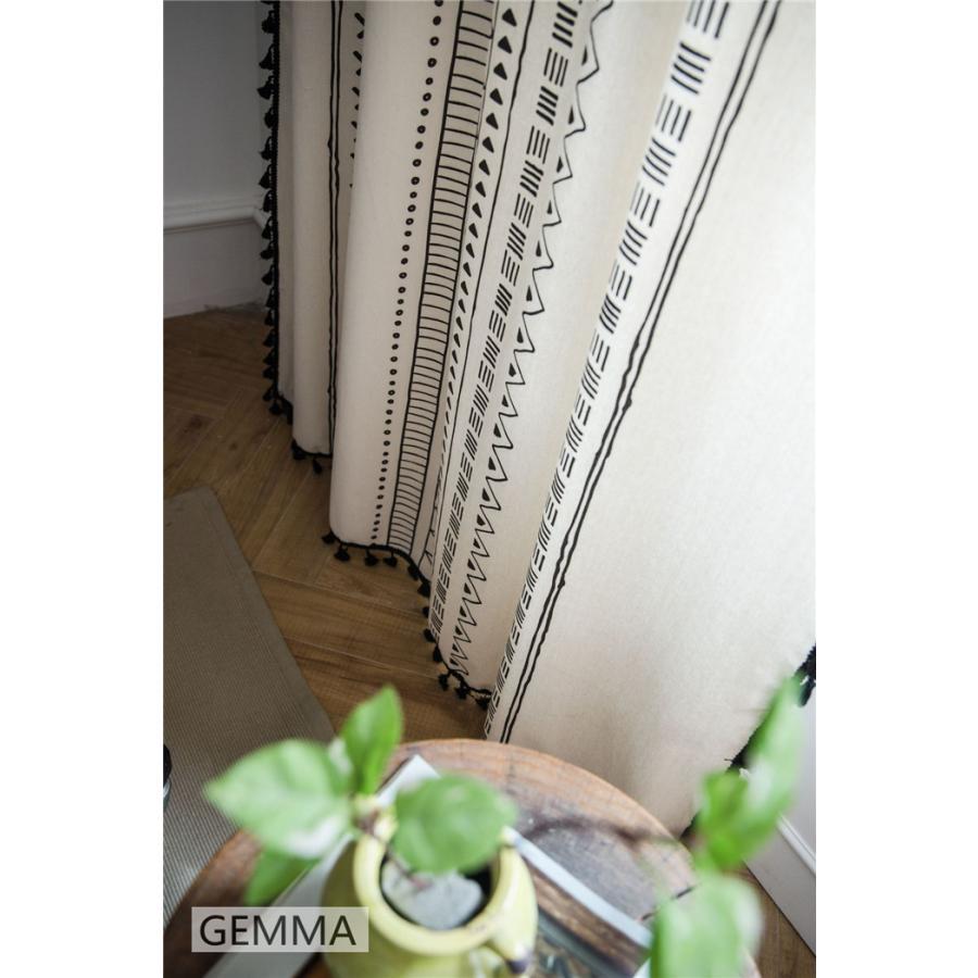 カーテン 綿麻 穴タイプ フック ボヘミア風 幾何 一体型カーテン リネン 和風 日系 新生活 部屋 洗える 完成品 カーテン|fortuna-gemma|09