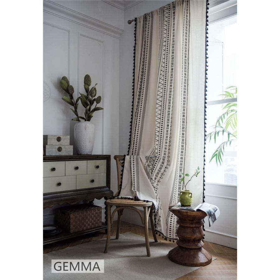 カーテン 綿麻 穴タイプ フック ボヘミア風 幾何 一体型カーテン リネン 和風 日系 新生活 部屋 洗える 完成品 カーテン|fortuna-gemma|10