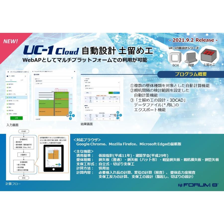 UC-1Cloud 自動設計 土留め工 Ver.1(初年度サブスクリプション)|forum8jp