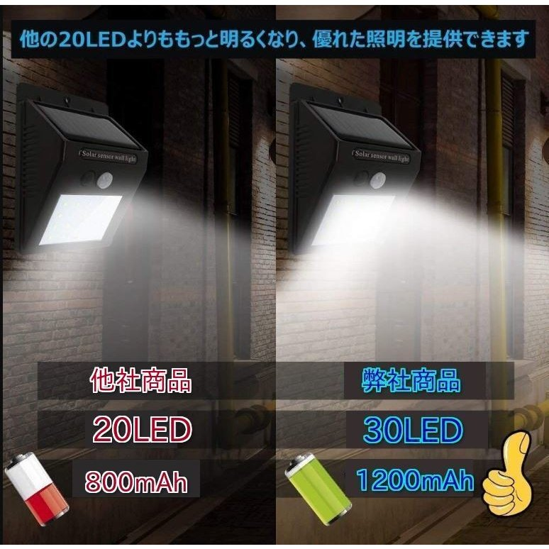 ソーラーライト 屋外 人感センサー おしゃれ 明るい 庭 ガーデン センサーライト 30 LED 防犯 玄関 ガーデンライト 外灯 防犯ライト 最強 家庭用 工事不要 外|four-piece|09