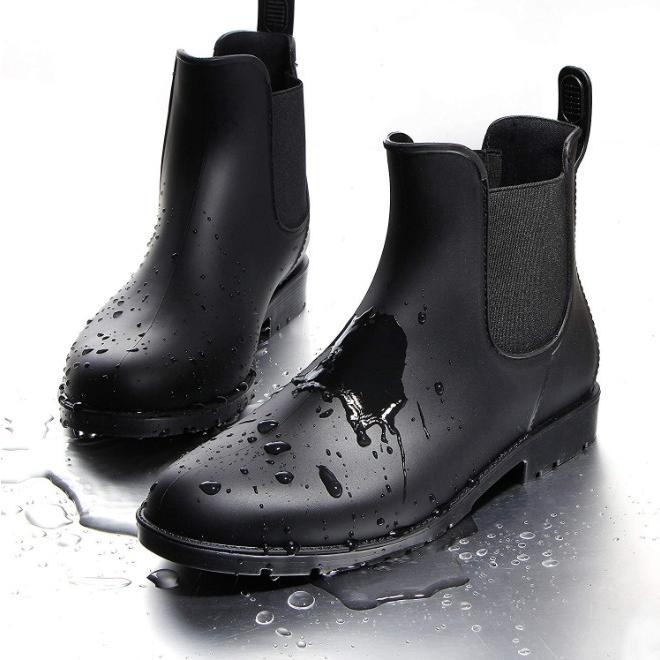 レインブーツ レディース おしゃれ 雨 台風 対策 ショート すべり止め 長靴 雨靴 レインシューズ サイドゴア 防水 軽量 通勤 通学 誕生日 プレゼント four-piece 11