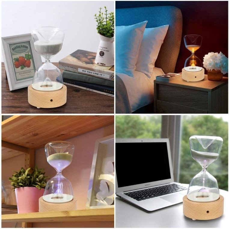 インテリア おしゃれ ライト 砂時計 15分 間接照明 寝室 リビング LED 調光 北欧 ナイトライト USB充電 コンセント不要 テーブルランプ ギフト プレゼント|four-piece|18