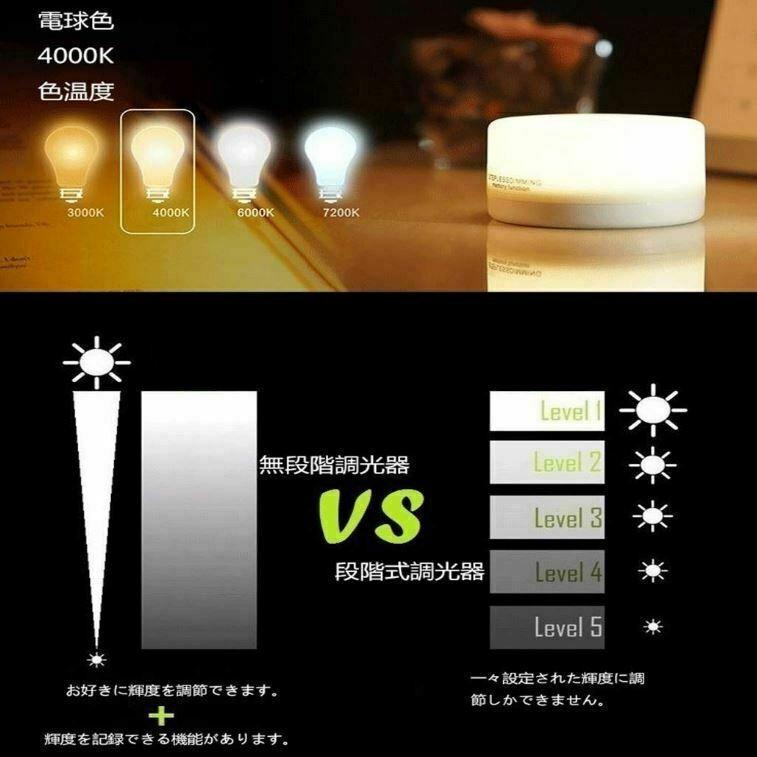 ナイトライト LED 調光 タッチライト 間接照明 おしゃれ USB充電 寝室 リビング 授乳 フットライト テーブルランプ 北欧 コードレス シンプル 2個セット four-piece 04