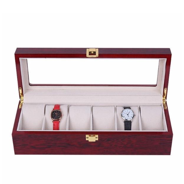 腕時計ケース おしゃれ 木製 6本 高級 時計ケース 腕時計 収納 保管 ディスプレイ 携帯 腕時計保管ケース 保管箱 保管庫 ディスプレイスタンド 透明|four-piece|06
