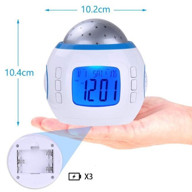 目覚まし時計 おしゃれ 大音量 子供 光 置時計 温度計 デジタル プラネタリウム 投影 時計 オルゴール 4way|four-piece|05