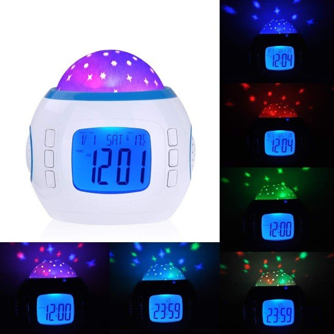 目覚まし時計 おしゃれ 大音量 子供 光 置時計 温度計 デジタル プラネタリウム 投影 時計 オルゴール 4way|four-piece|07