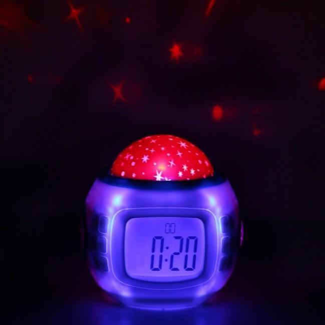 目覚まし時計 おしゃれ 大音量 子供 光 置時計 温度計 デジタル プラネタリウム 投影 時計 オルゴール 4way|four-piece|08