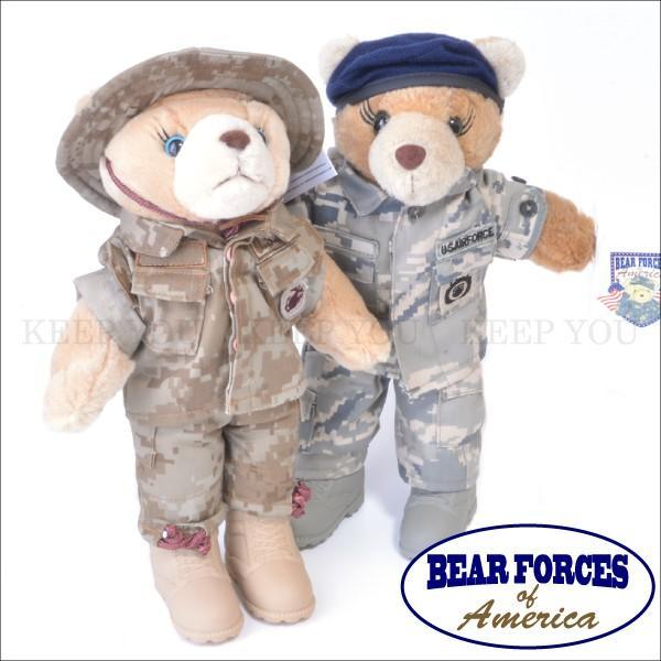 テディベア ミリタリー仕様 約28cm 軍隊 迷彩柄 MILITARY TEDDY BEARS ベアフォース BEAR FORCES of America くま ぬいぐるみ アメリカ軍 1-1877I 1-1876M ┃