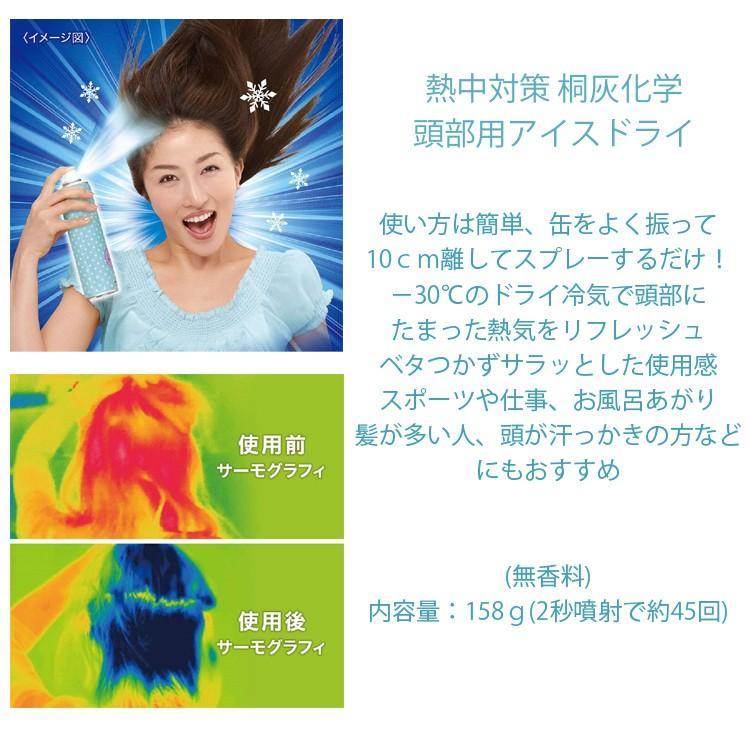 桐灰化学 熱中対策頭部用アイスドライ158g[3本セット] 頭髪用冷却スプレー 熱中症対策 冷却スプレー コールドスプレー あすつく対応|freeline|02