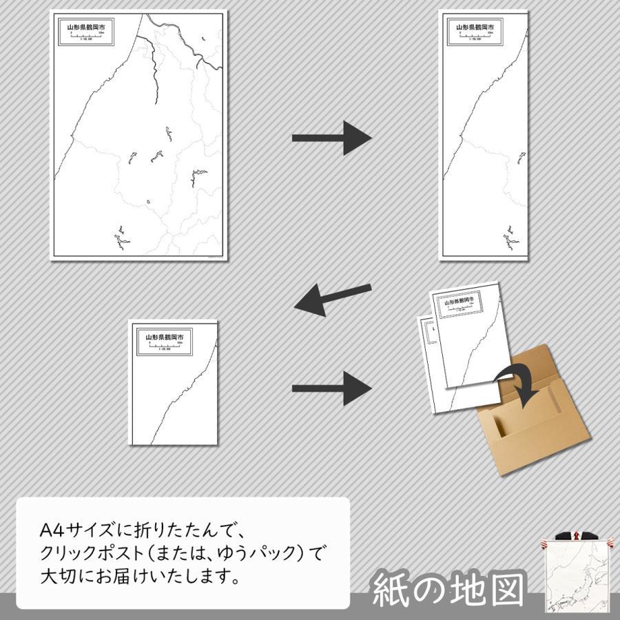 山形県鶴岡市の紙の白地図 A1サイズ2枚セット freemap 05