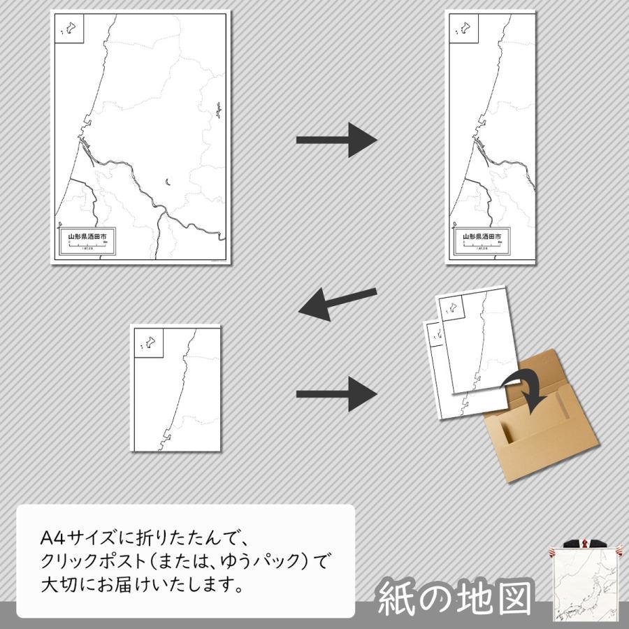 山形県酒田市の紙の白地図 A1サイズ2枚セット freemap 05