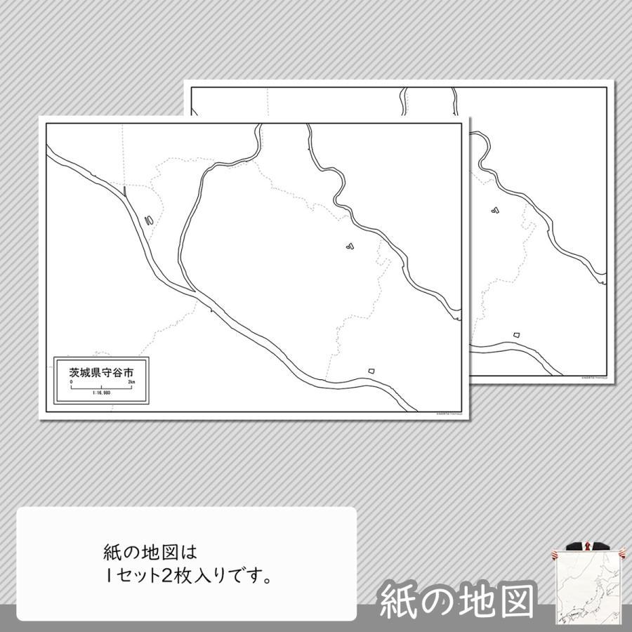 茨城県守谷市の紙の白地図 A1サイズ2枚セット freemap 04
