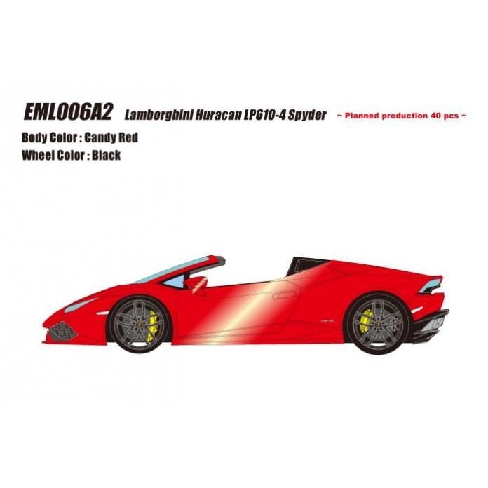 取寄せEML006A2 メイクアップ/アイドロン 1/18 ランボルギーニ ウラカン LP610-4 スパイダー 2015 キャンディレッド