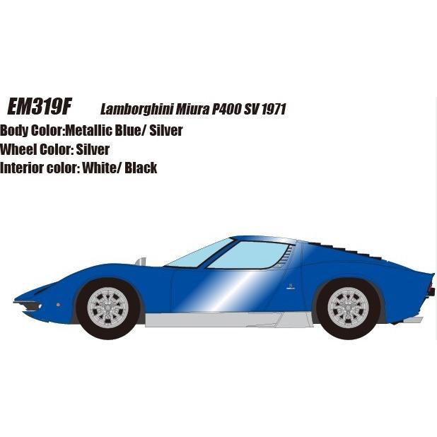 取寄せEM319F メイクアップ/アイドロン 1/43 ランボルギーニ ミウラ P400 SV 1971 メタリックブルー/シルバー