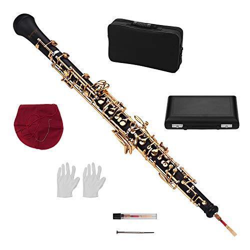 Muslady オーボエ Cキー半自動スタイル プロフェッショナル 木管楽器 オーボエリードレザーケースキャリーバッグクリーニングクロスミニドライバー