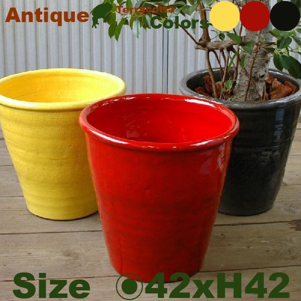 アンティークカラードポット C1350(直径42cm×H42cm)(底穴あり)(陶器製)(プランター)(観葉鉢/園芸)