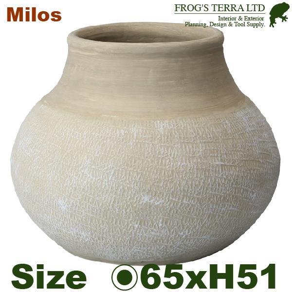 ミロス  L(直径65cm×H51cm)底穴なし 陶器製 鉢カバー 大型 ツボ ショップディスプレイ