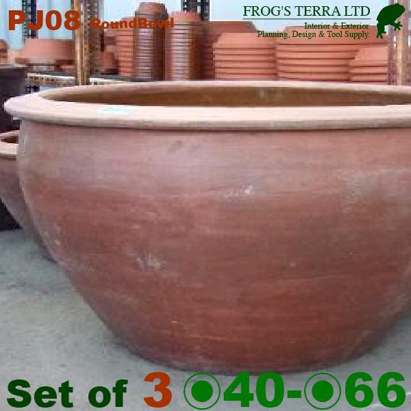 茶ボウル鉢 PJ08 3サイズセット(L直径66cm×H40cm M直径50cm×H35cm S直径40cm×H30cm )(穴あり 和風 陶器 こげ茶 アジアン)