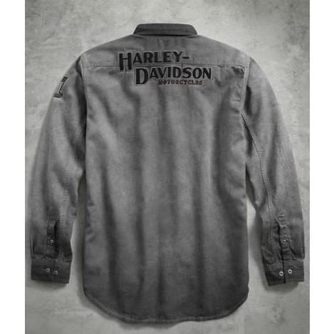 HARLEY-DAVIDSON Mens Iron Block Long-Sleeve Shirt Grey