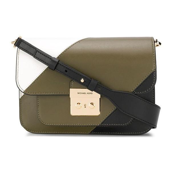 マイケルコース ショルダーバッグ Michael Michael Kors Sloan Editor Tricolor Shoulder Bag (Olive Multi) レザー ショルダーバッグ (オリーブマルチ)